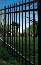 Rake-Bottom Black Aluminum Fence