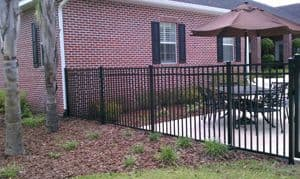 Residential Three Rail Black Aluminum Fence