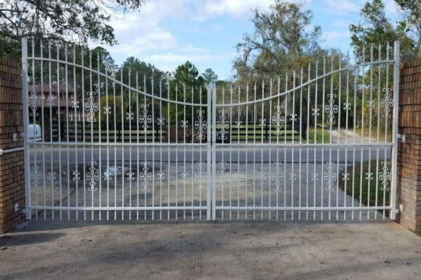 White Aluminum Double Drive Gate With Operators