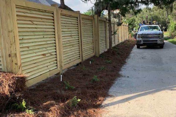 Custom Louvered Wood Fence