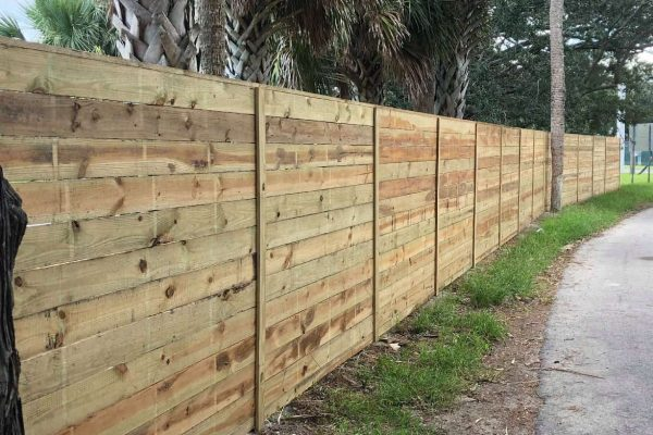 Horizontal Stockade Wood Fence
