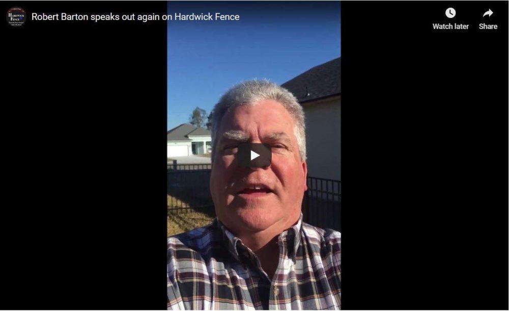 Rober Barton - Hardwick Fence Testimonial