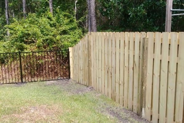 Tappered Wood Shadowbox Fence With Residential Aluminum Fence
